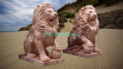 Скульптуры львов из мрамора
